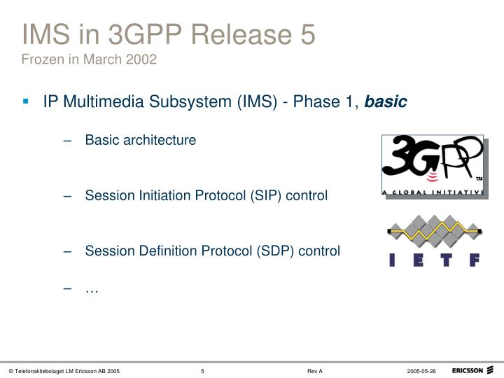 IMS in 3GPP Release 5