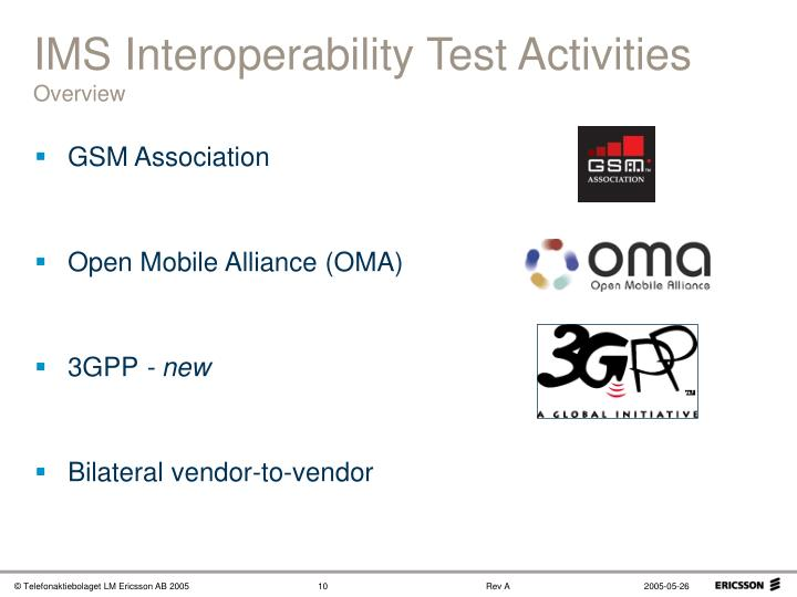 IMS Interoperability Test Activities