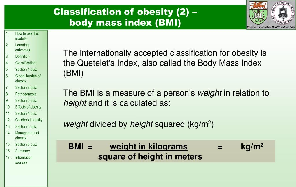 Classification of obesity (2) –