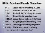 john prominent female characters