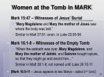 women at the tomb in mark
