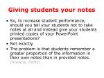 giving students your notes
