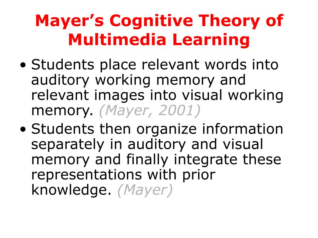 Mayer's Cognitive Theory of Multimedia Learning