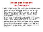 notes and student performance
