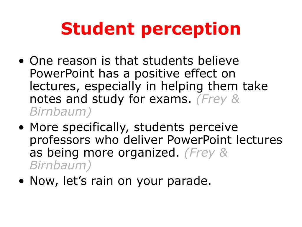 Student perception