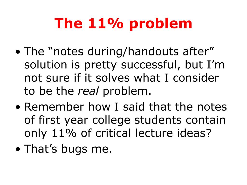The 11% problem