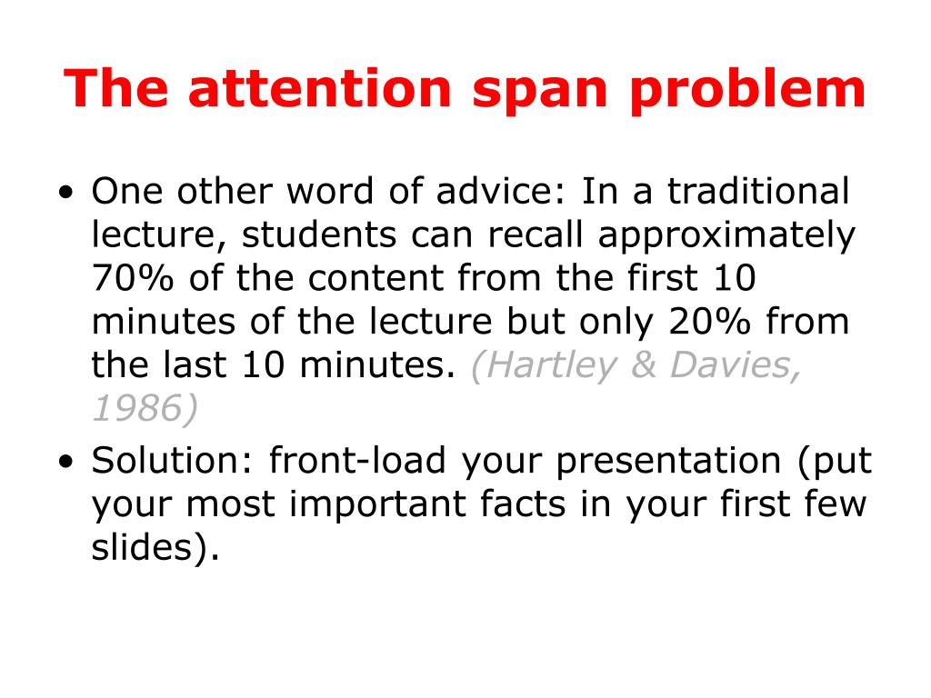 The attention span problem