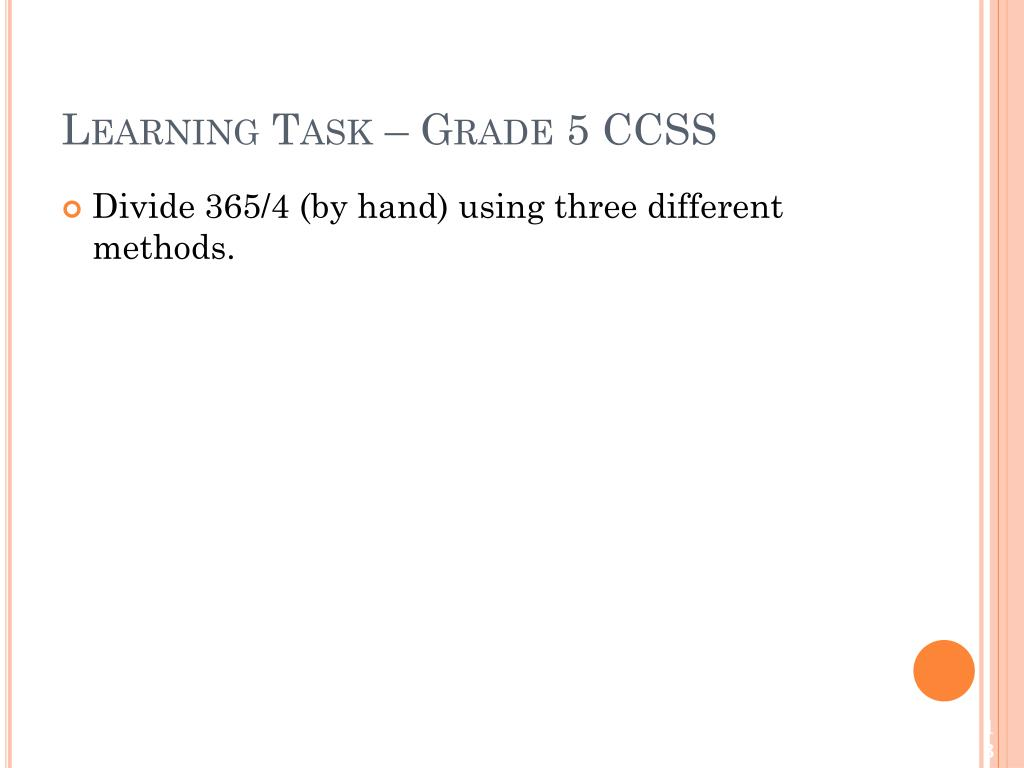 Learning Task – Grade 5 CCSS