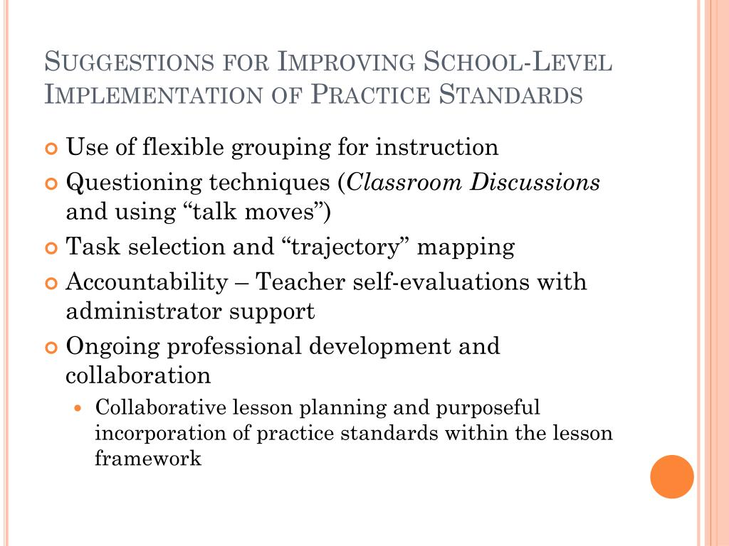 Suggestions for Improving School-Level Implementation of Practice Standards