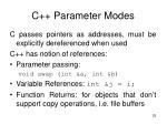 c parameter modes