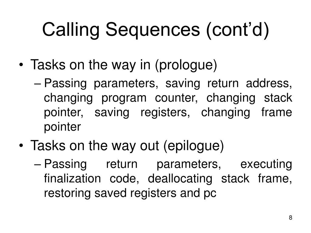 Calling Sequences (cont'd)