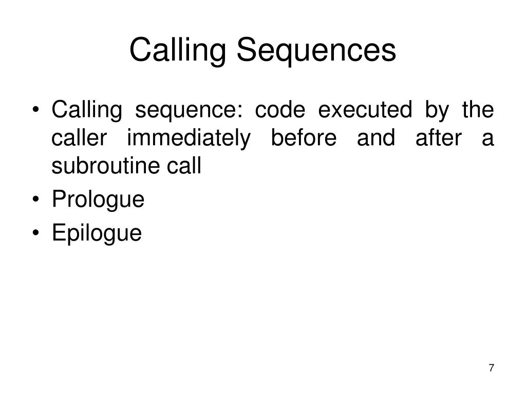 Calling Sequences