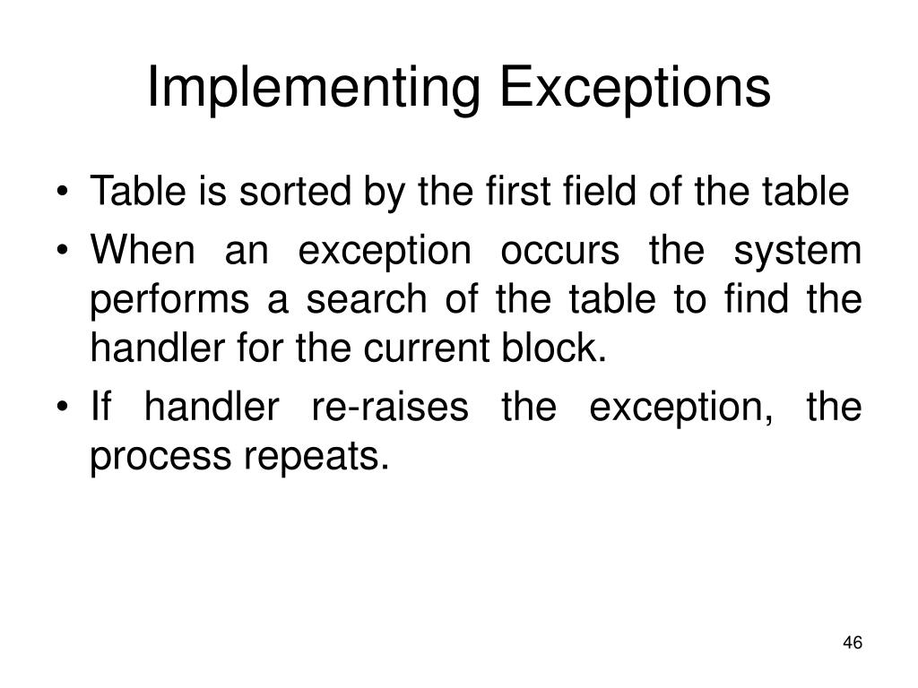 Implementing Exceptions