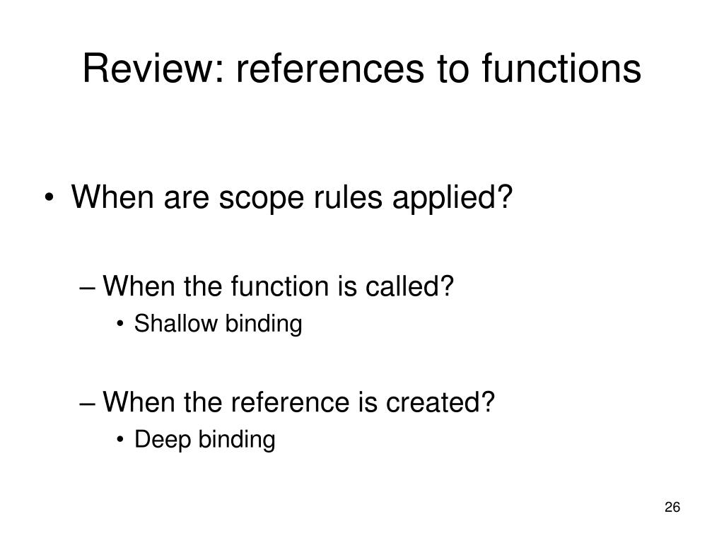 Review: references to functions