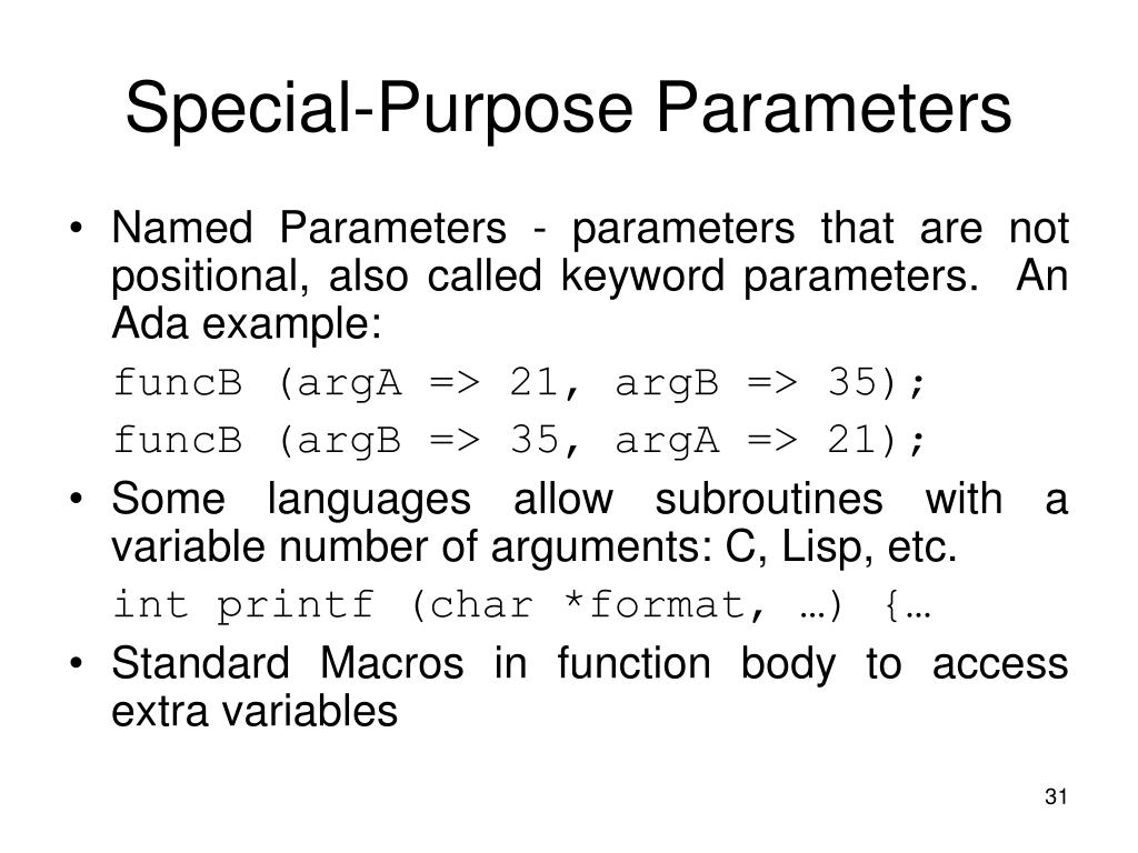 Special-Purpose Parameters