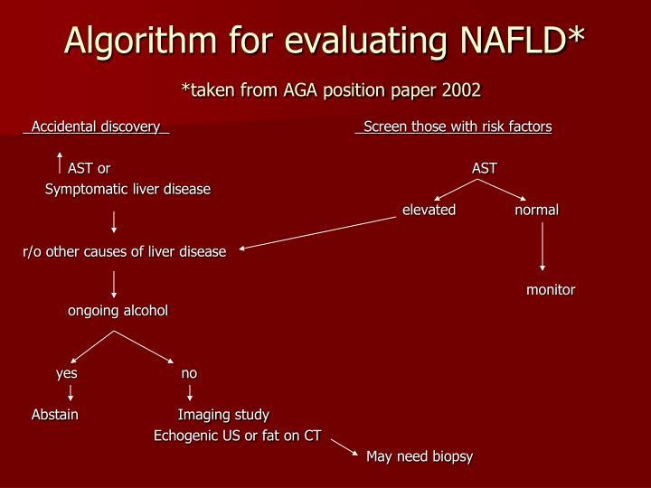 Algorithm for evaluating NAFLD*