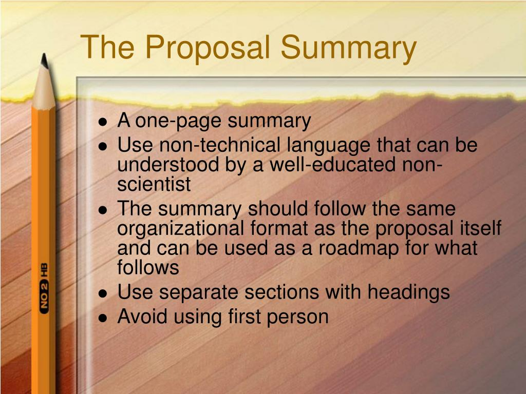 The Proposal Summary