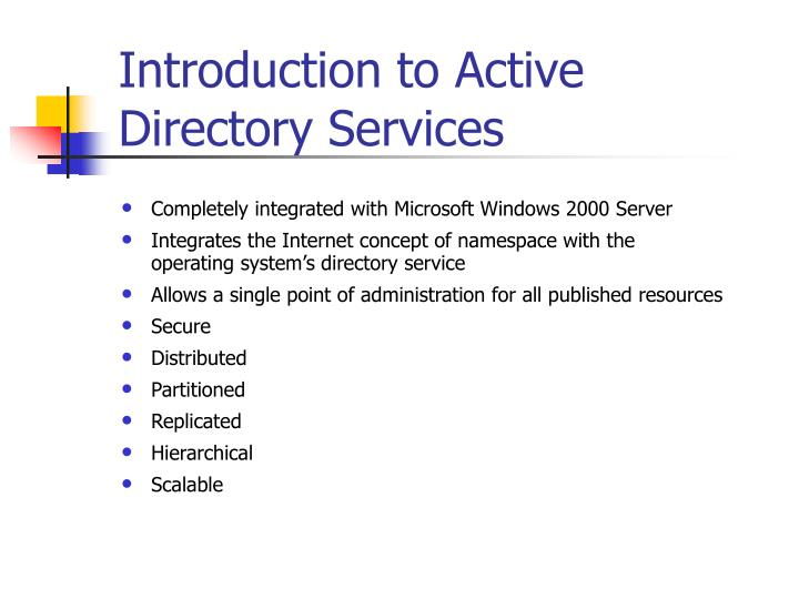 introduction to active directory services n.