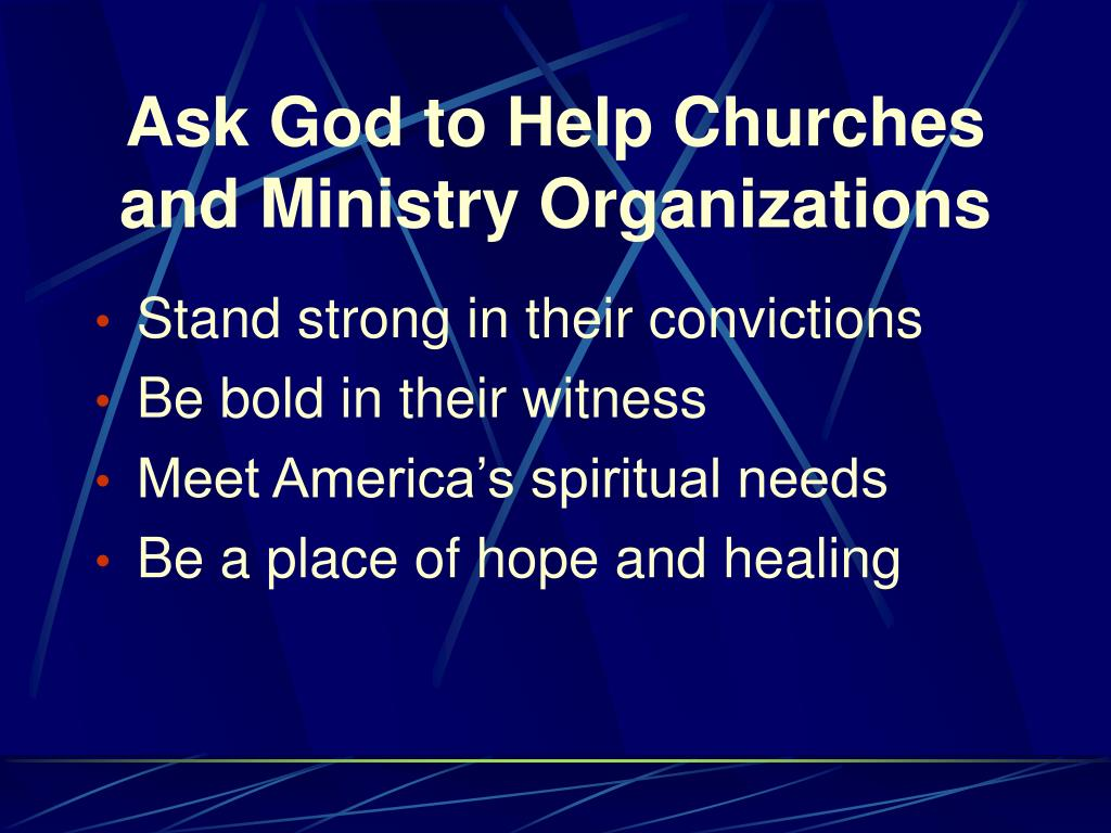Ask God to Help Churches and Ministry Organizations