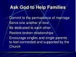 ask god to help families