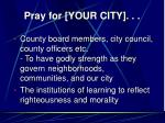 pray for your city