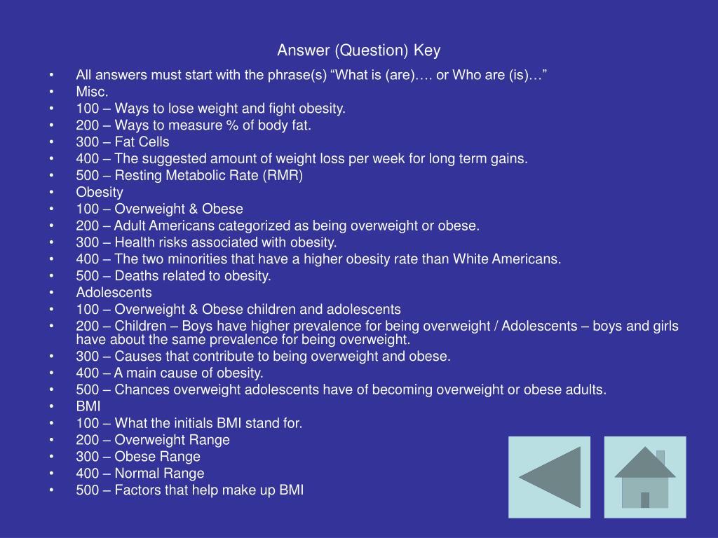 Answer (Question) Key