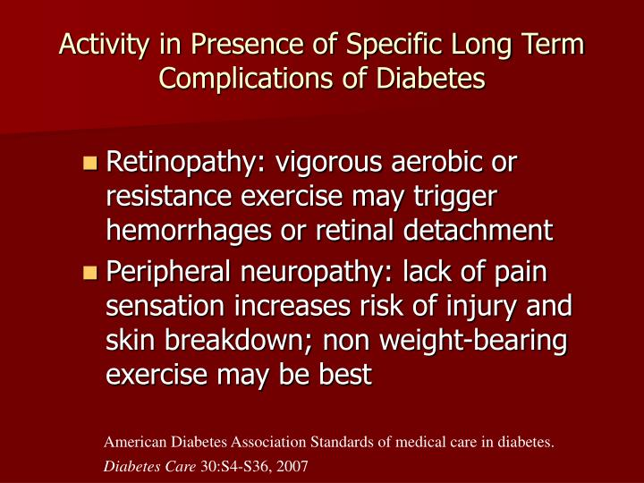 Activity in Presence of Specific Long Term Complications of Diabetes