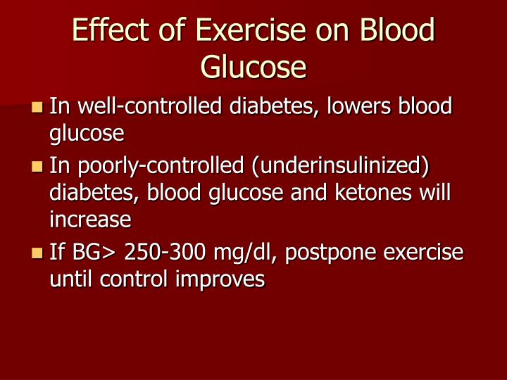 Effect of Exercise on Blood Glucose