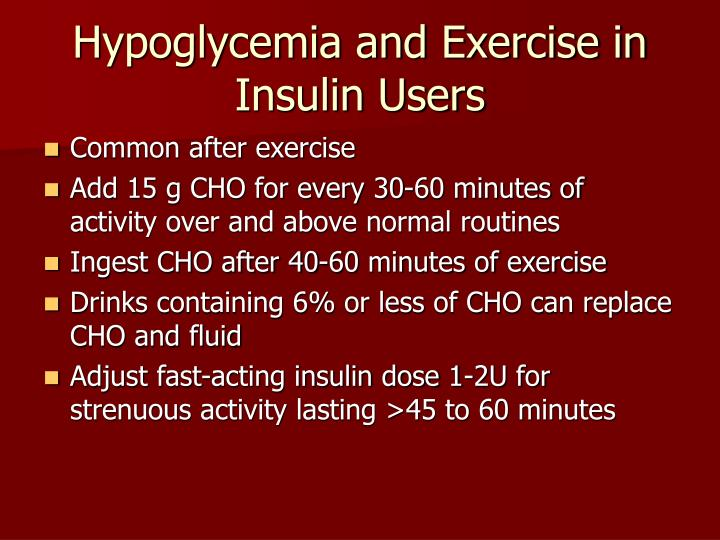 Hypoglycemia and Exercise in Insulin Users