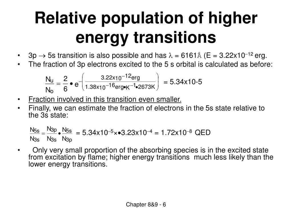 Relative population of higher energy transitions