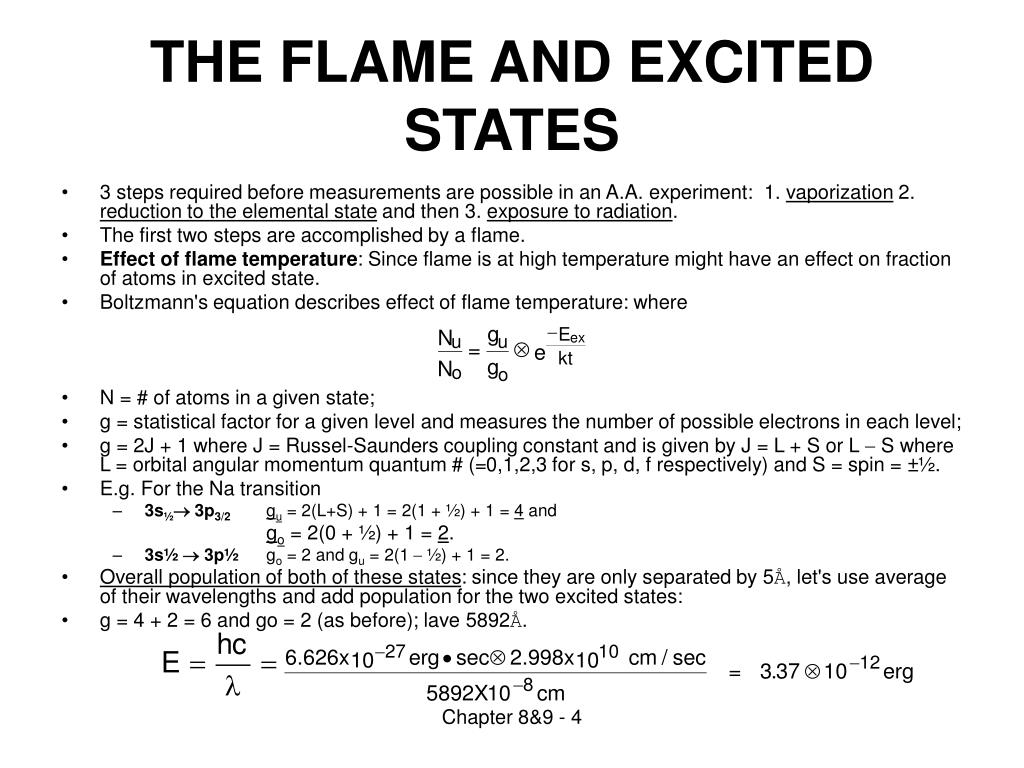 THE FLAME AND EXCITED STATES