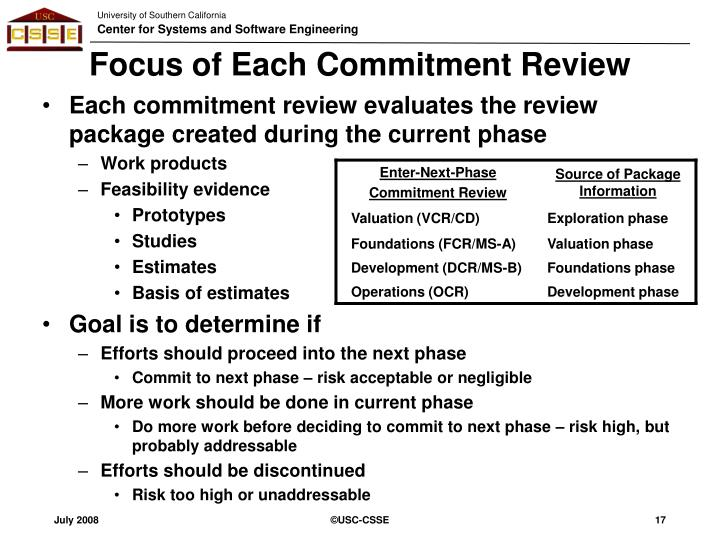 Focus of Each Commitment Review