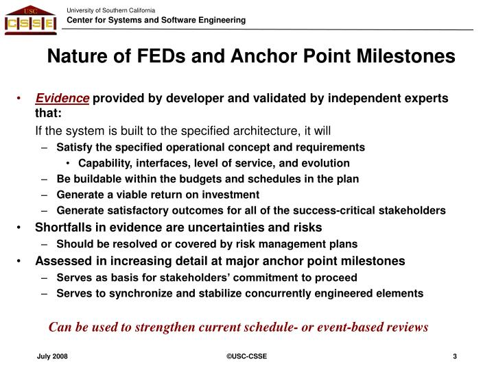 Nature of feds and anchor point milestones