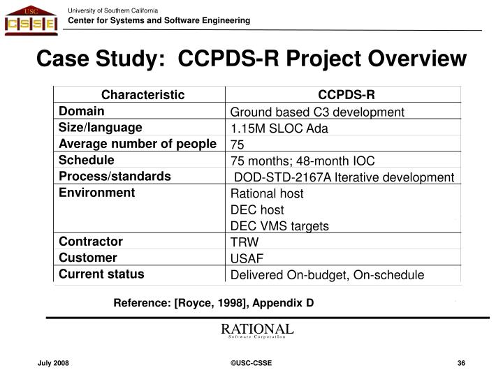 Case Study:  CCPDS-R Project Overview