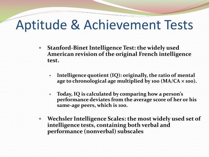Aptitude & Achievement Tests