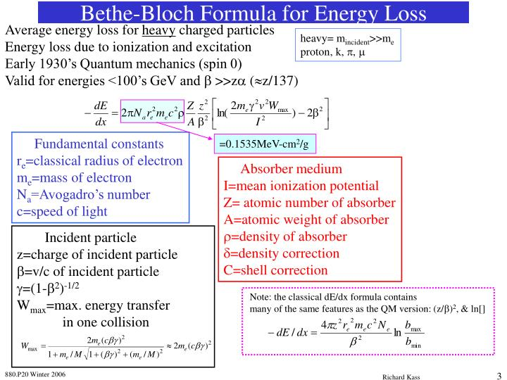 Bethe bloch formula for energy loss