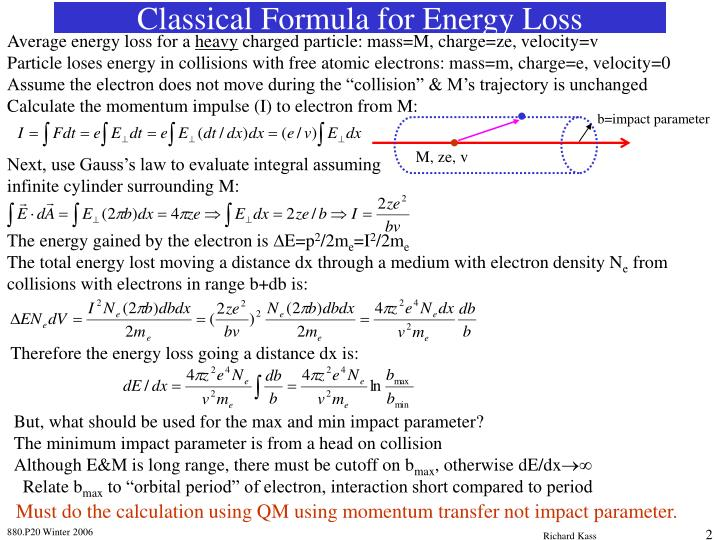Classical formula for energy loss