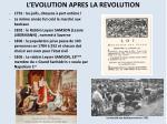l evolution apres la revolution