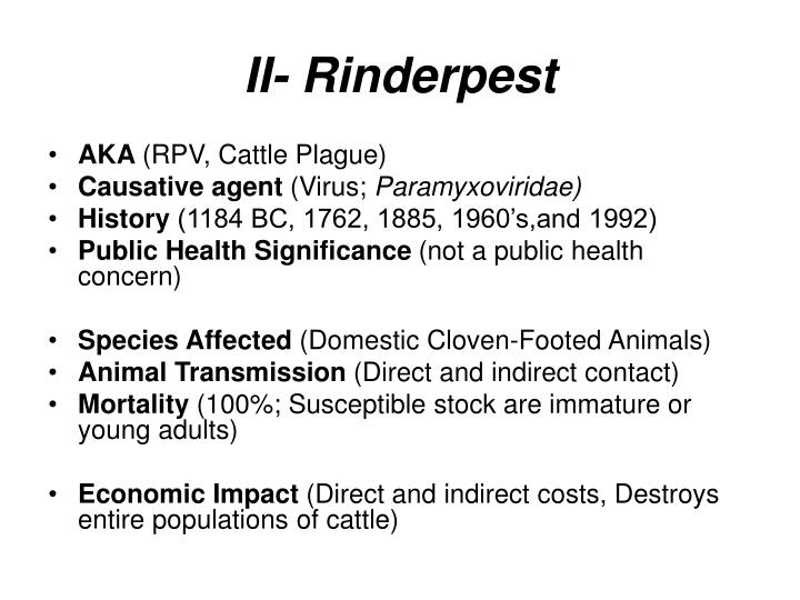 II- Rinderpest