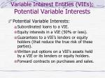 variable interest entities vies potential variable interests