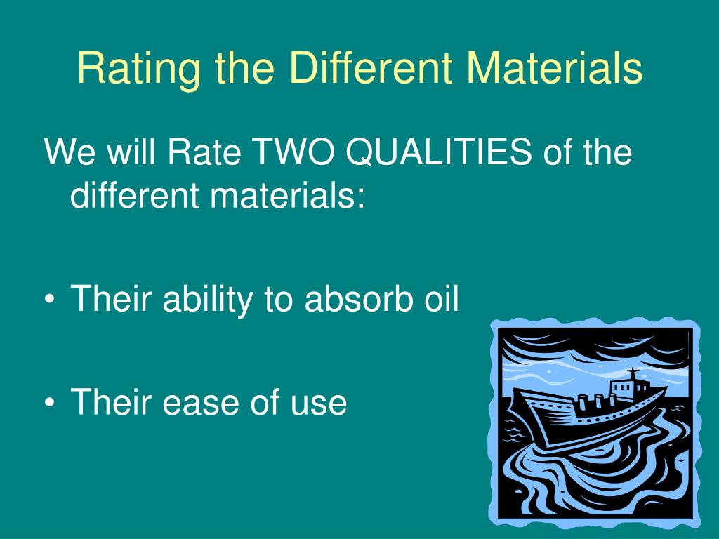 Rating the Different Materials