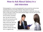 how to ask about salary in a job interview