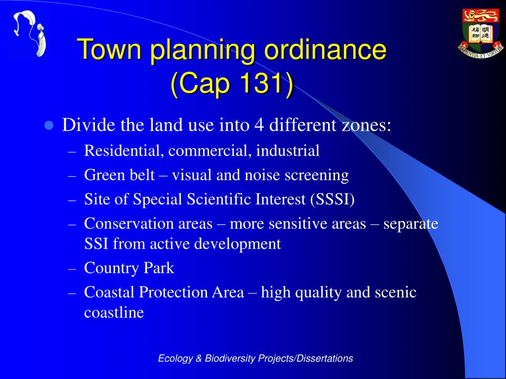 Town planning ordinance
