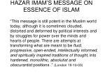 hazar imam s message on essence of islam