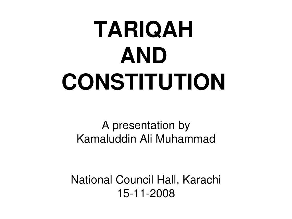 tariqah and constitution l.