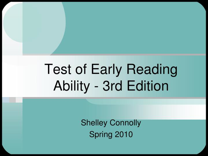 test of early reading ability 3rd edition n.