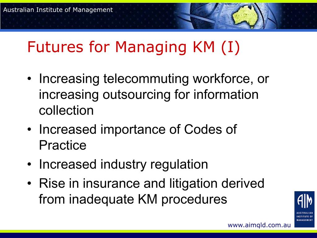 Futures for Managing KM (I)