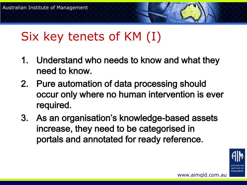 Six key tenets of KM (I)