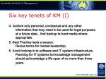 six key tenets of km i16