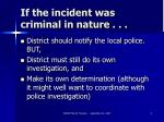 if the incident was criminal in nature